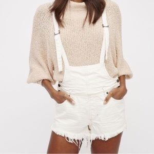 Free People Denim Distressed Short Overalls White